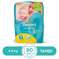 Pampers Taped 3 To 8kg - 80Pcs