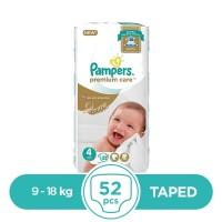 Pampers Premium Taped 9 To 18kg - 52Pcs