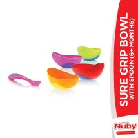 Nuby Sure Grip Bowl With Spoon (6+m)
