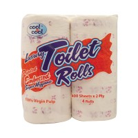 Cool and Cool Printed Embossed Toilet Roll 400s (Pack of 4)