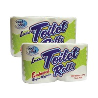 Cool and Cool White Toilet Roll 400s Twin Pack (Pack of 2)