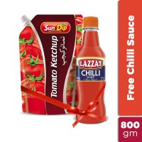 Tomato Ketchup 800gm Pouch get Free Lazzat Hot Chilli Sauce 400ml