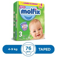 Molfix Taped 4 To 9kg - 76Pcs