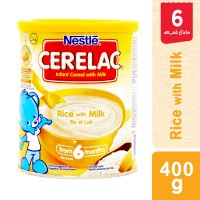 Nestle Cerelac Rice and Milk Tin (6 months) - 400gm