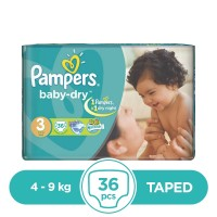 Pampers Taped 4 To 9kg - 36Pcs