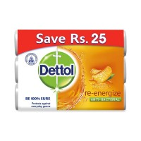 Dettol Re-energize Anti-Bacterial Soap (Pack of 3) - 285gm