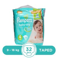Pampers Taped 9 To 18kg - 32Pcs