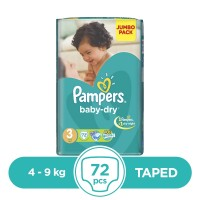 Pampers Taped 4 To 9kg - 72Pcs